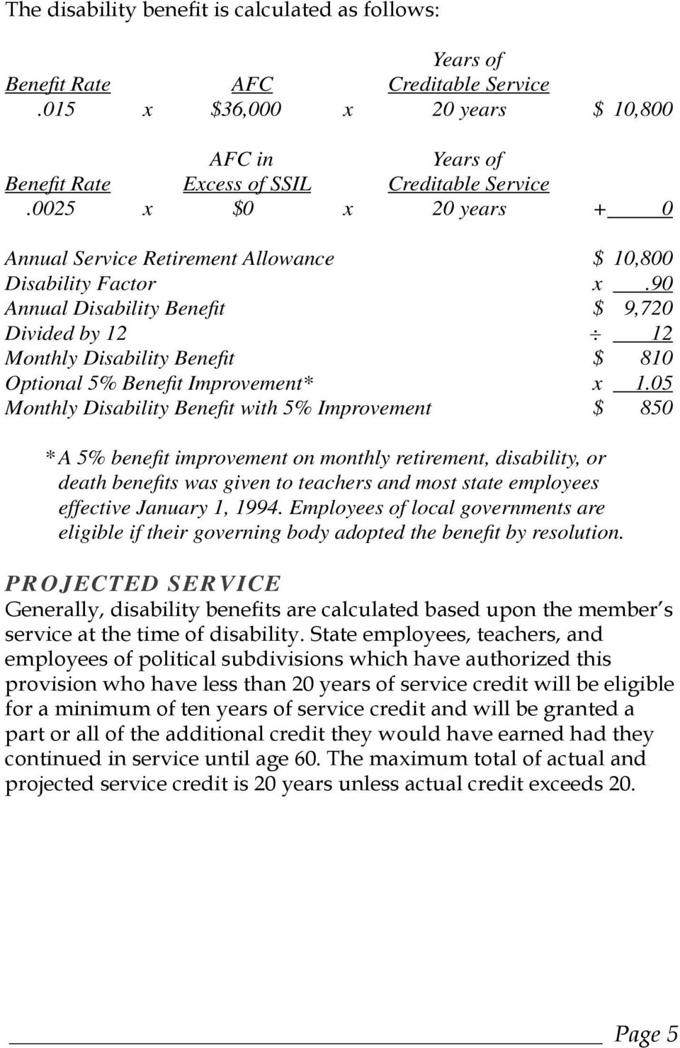 90 Annual Disability Benefi t $ 9,720 Divided by 12 : 12 Monthly Disability Benefi t $ 810 Optional 5% Benefi t Improvement* x 1.