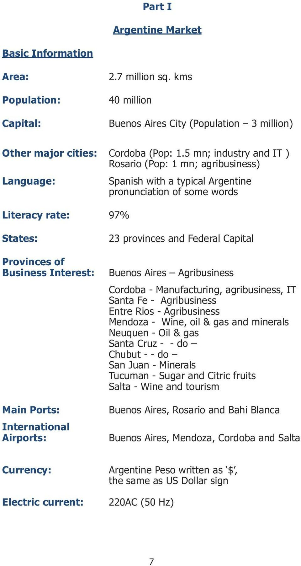 International Airports: 23 provinces and Federal Capital Buenos Aires Agribusiness Cordoba - Manufacturing, agribusiness, IT Santa Fe - Agribusiness Entre Rios - Agribusiness Mendoza - Wine, oil &