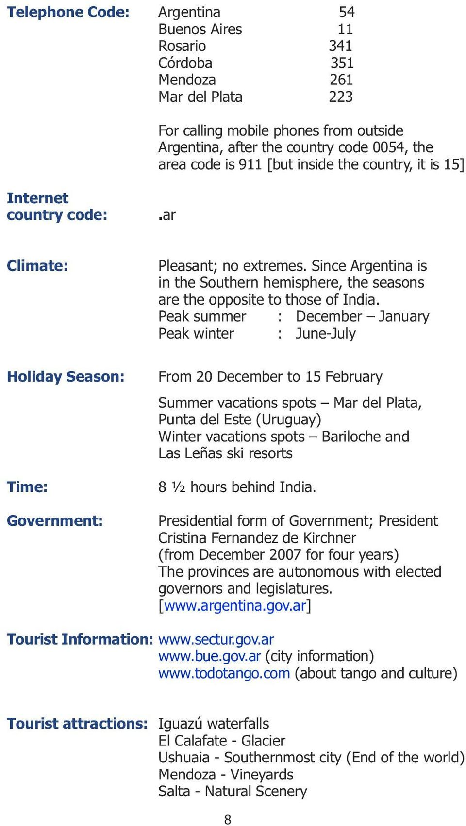Since Argentina is in the Southern hemisphere, the seasons are the opposite to those of India.