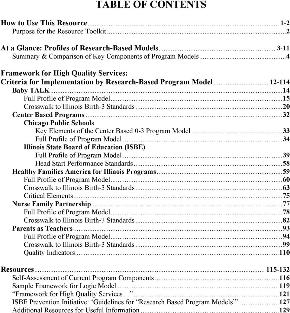 .. 20 Center Based Programs... 32 Chicago Public Schools Key Elements of the Center Based 0-3 Program Model... 33 Full Profile of Program Model.