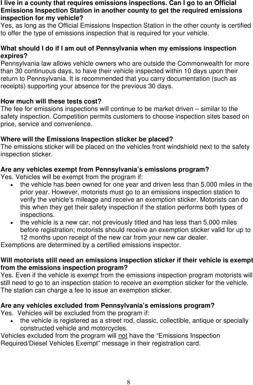 What should I do if I am out of Pennsylvania when my emissions inspection expires?