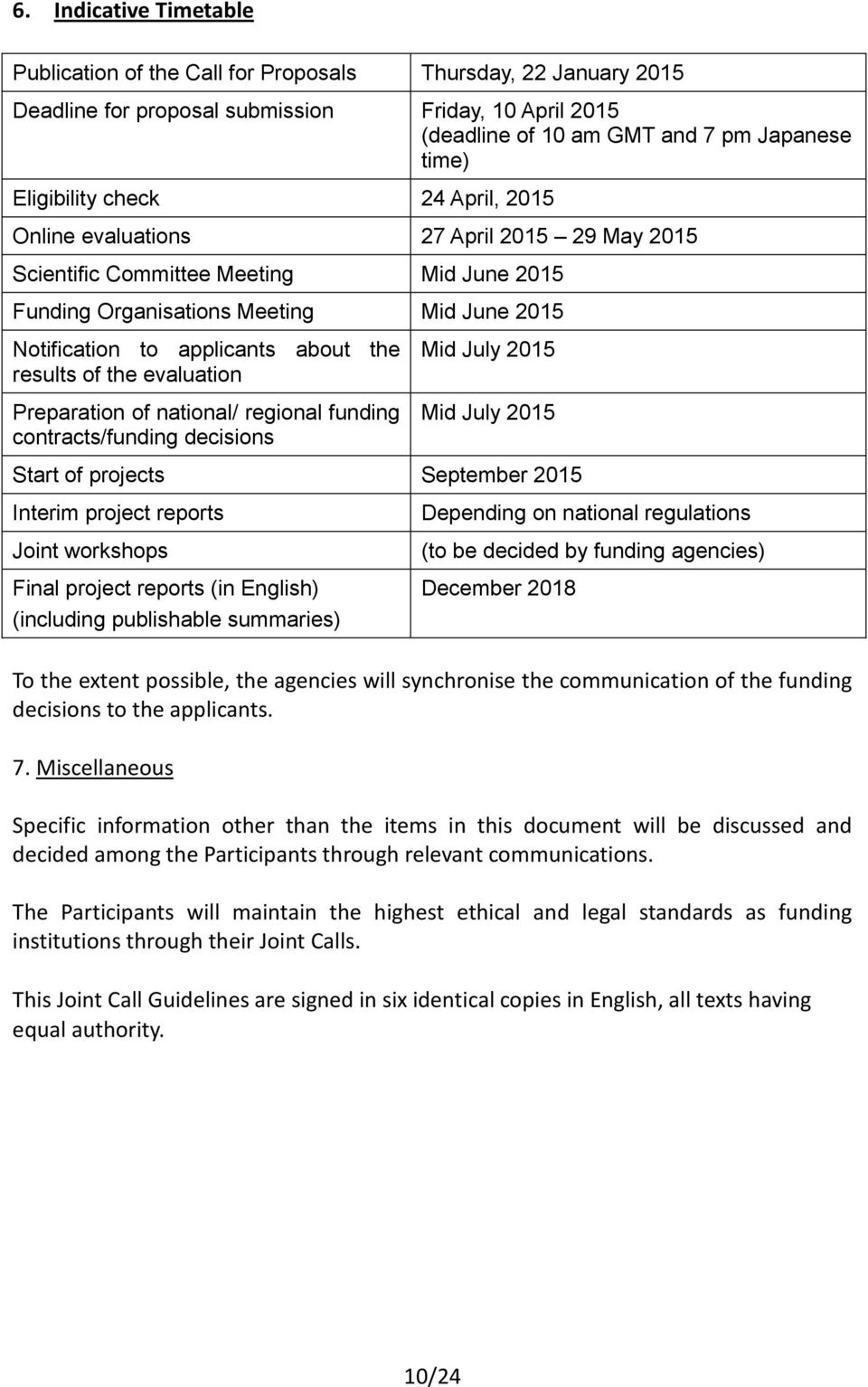 the results of the evaluation Preparation of national/ regional funding contracts/funding decisions Mid July 2015 Mid July 2015 Start of projects September 2015 Interim project reports Joint