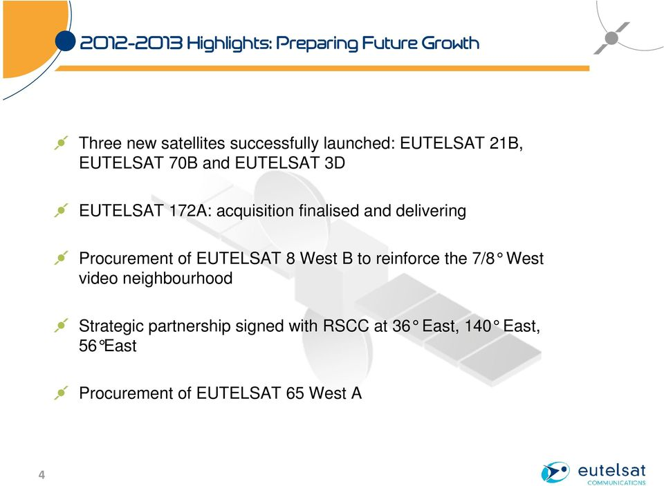 delivering Procurement of EUTELSAT 8 West B to reinforce the 7/8 West video neighbourhood