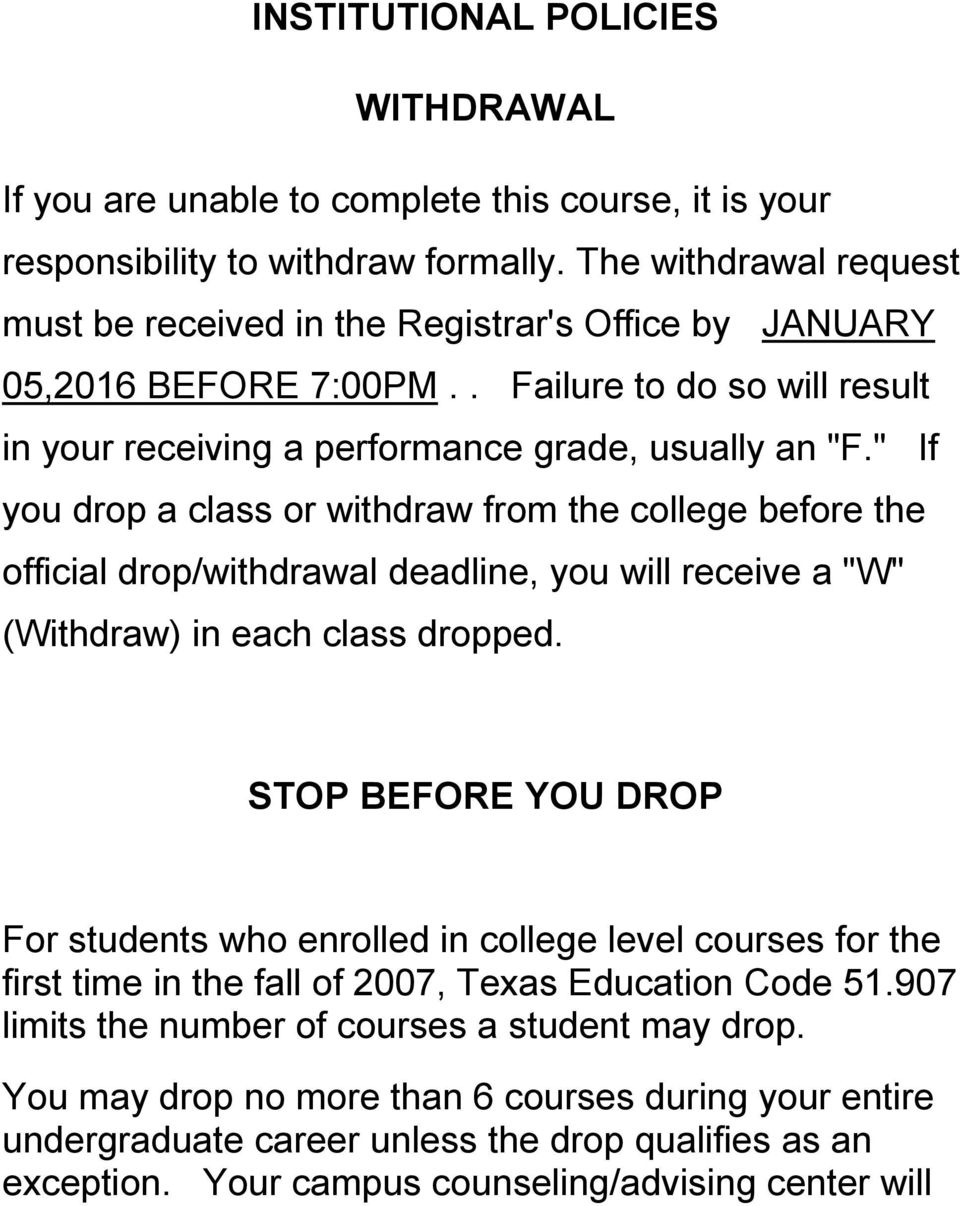 """ If you drop a class or withdraw from the college before the official drop/withdrawal deadline, you will receive a ""W"" (Withdraw) in each class dropped."