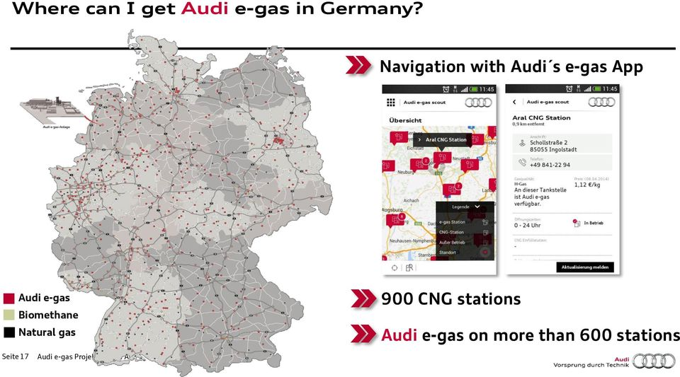 Biomethane Natural gas 900 CNG stations Audi