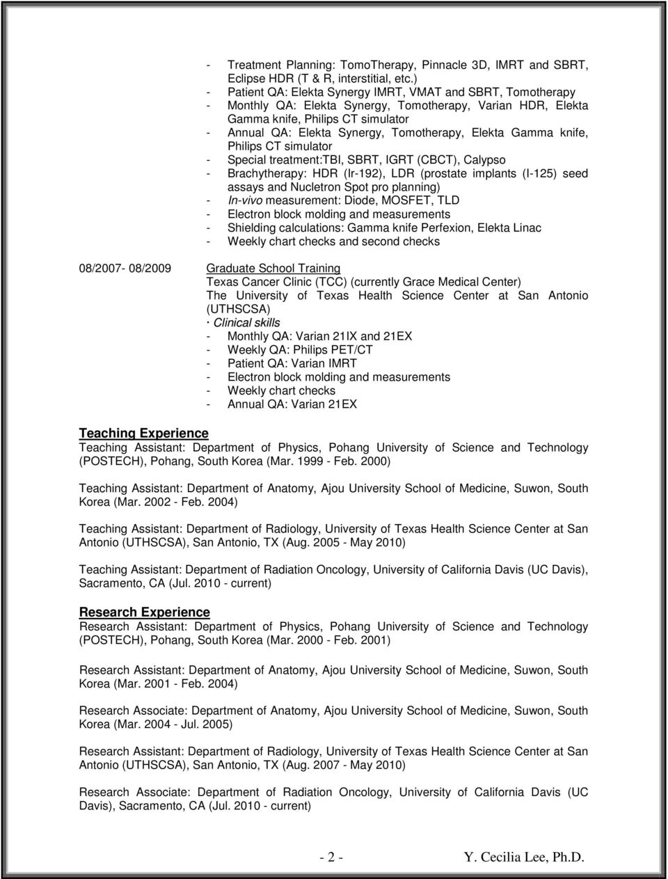 Curriculum Vitae  Department of Radiology The University of