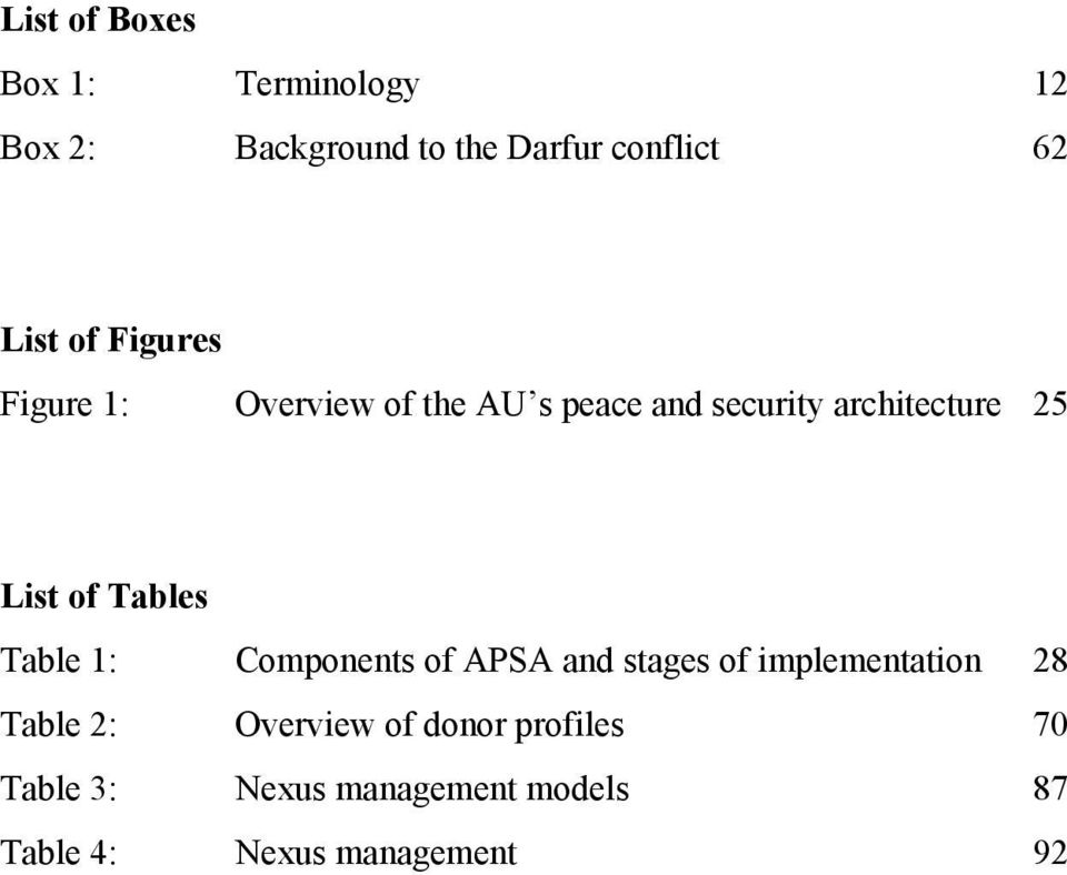 Tables Table 1: Components of APSA and stages of implementation 28 Table 2: Overview