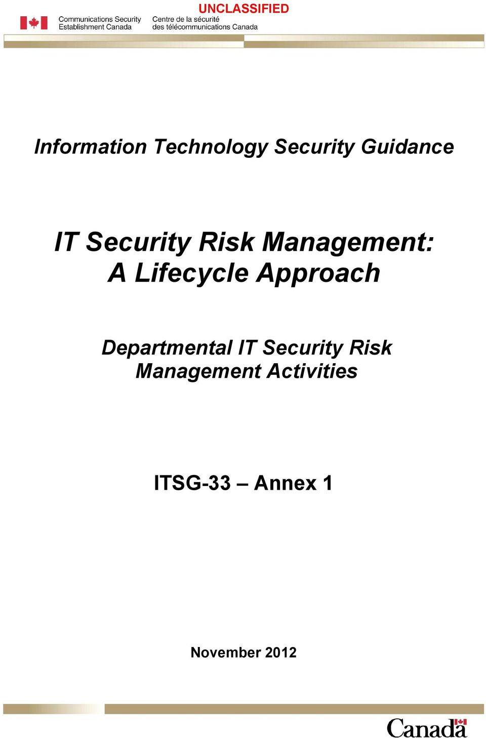 Approach Departmental IT Security Risk