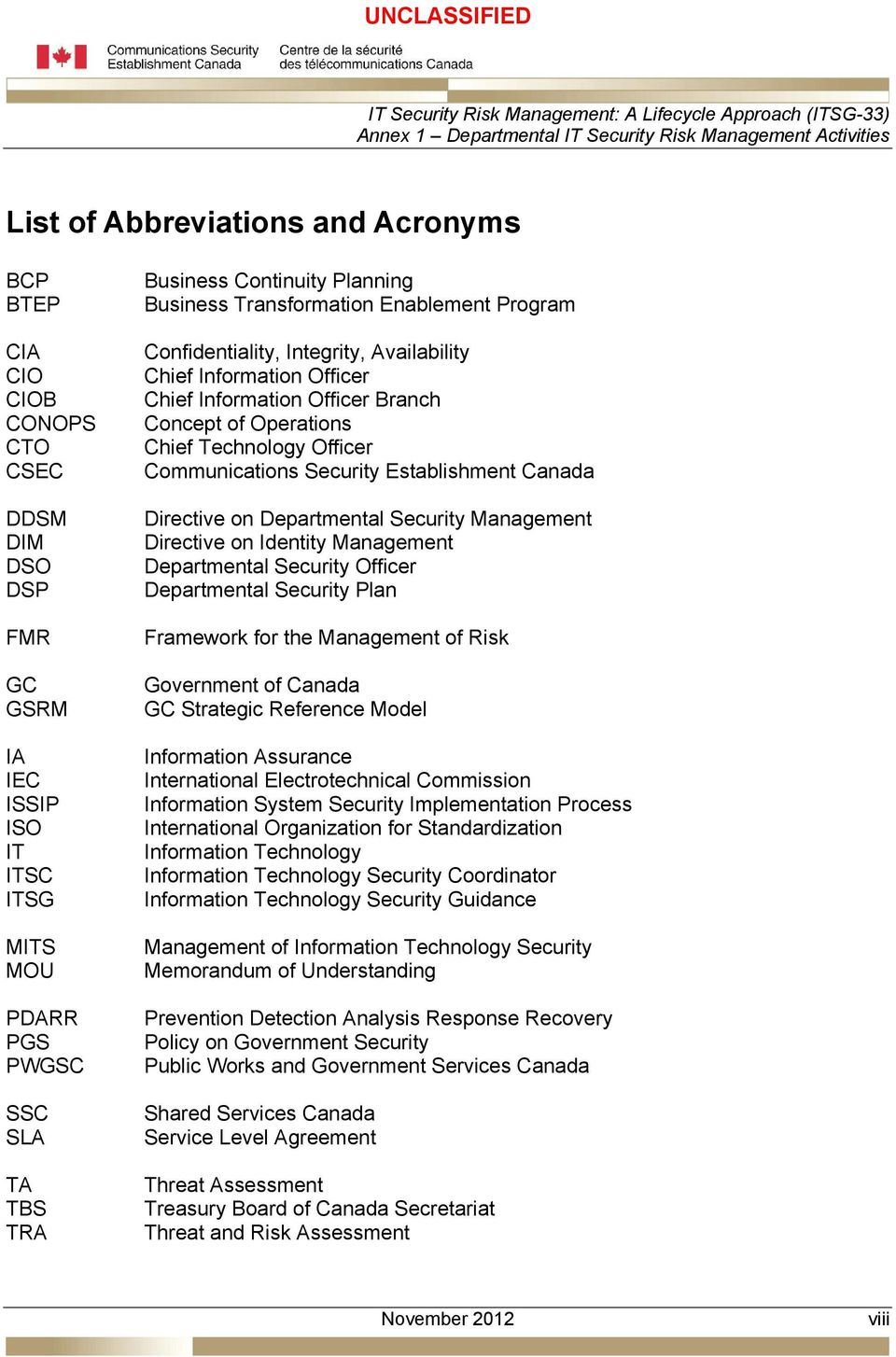 Communications Security Establishment Canada Directive on Departmental Security Management Directive on Identity Management Departmental Security Officer Departmental Security Plan Framework for the