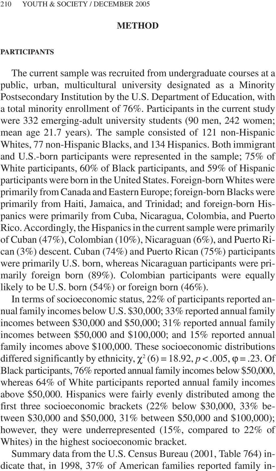 7 years). The sample consisted of 121 non-hispanic Whites, 77 non-hispanic Blacks, and 134 Hispanics. Both immigrant and U.S.