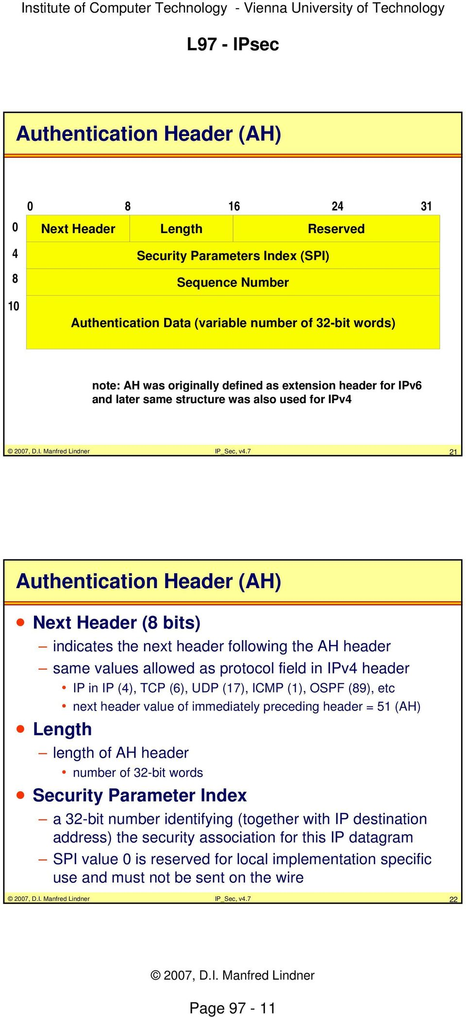 7 21 Authentication Header (AH) Next Header (8 bits) indicates the next header following the AH header same values allowed as protocol field in IPv4 header IP in IP (4), TCP (6), UDP (17), ICMP (1),