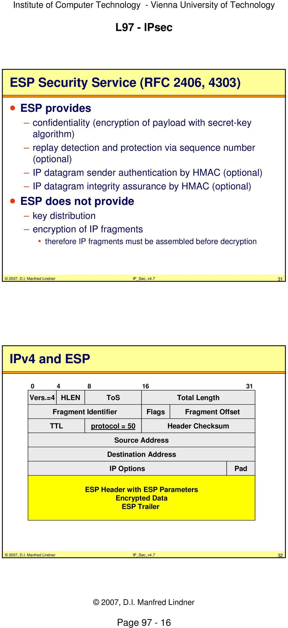 fragments therefore IP fragments must be assembled before decryption IP_Sec, v4.7 31 IPv4 and ESP 0 4 8 16 31 Vers.