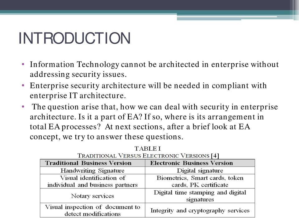 The question arise that, how we can deal with security in enterprise architecture. Is it a part of EA?