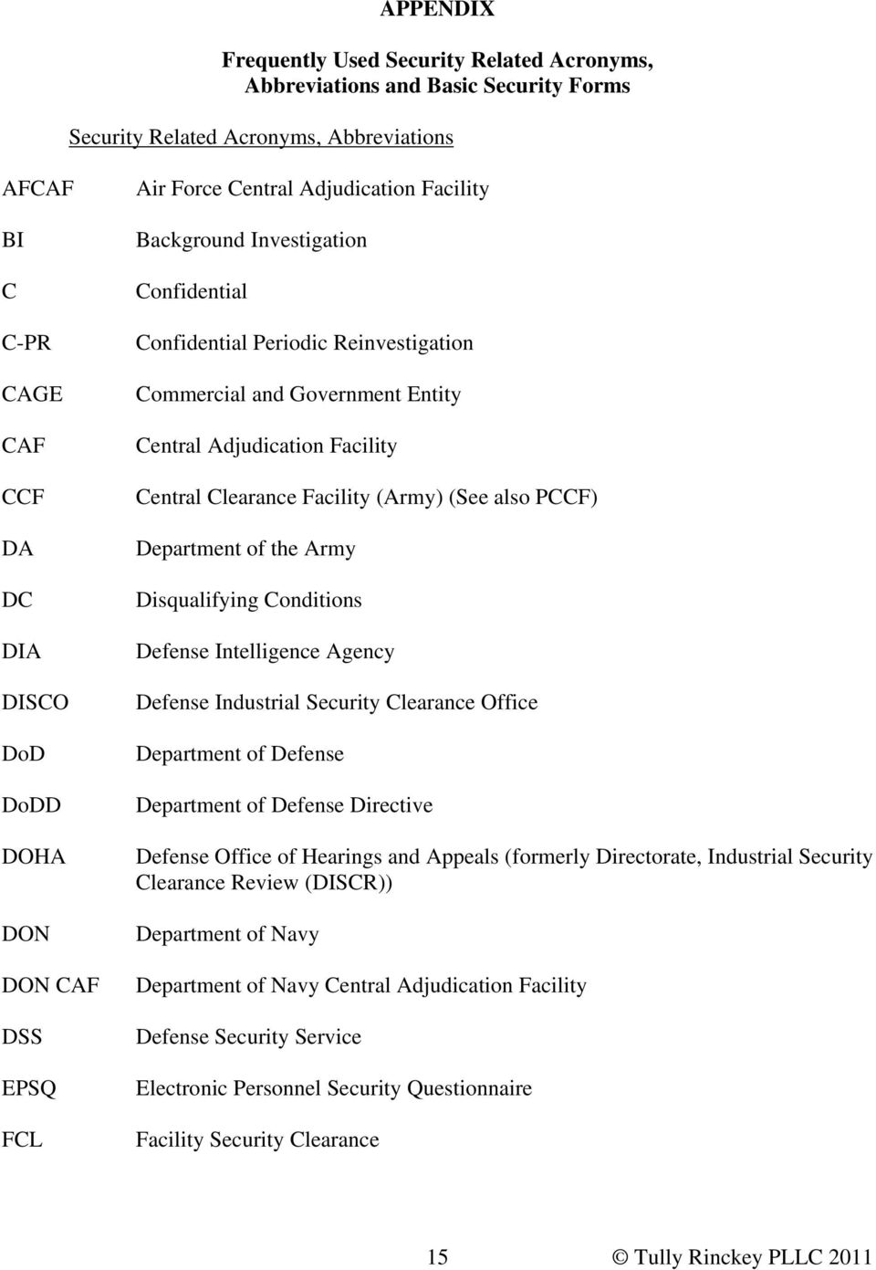 Central Clearance Facility (Army) (See also PCCF) Department of the Army Disqualifying Conditions Defense Intelligence Agency Defense Industrial Security Clearance Office Department of Defense