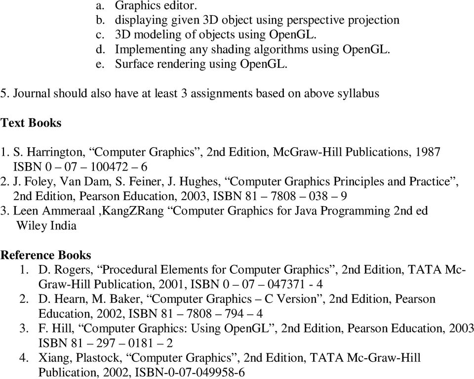 Feiner, J. Hughes, Computer Graphics Principles and Practice, 2nd Edition, Pearson Education, 2003, ISBN 81 7808 038 9 3.
