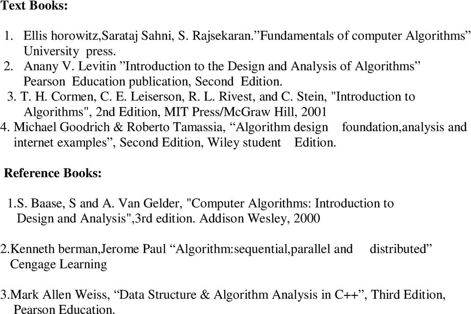"Stein, ""Introduction to Algorithms"", 2nd Edition, MIT Press/McGraw Hill, 2001 4."