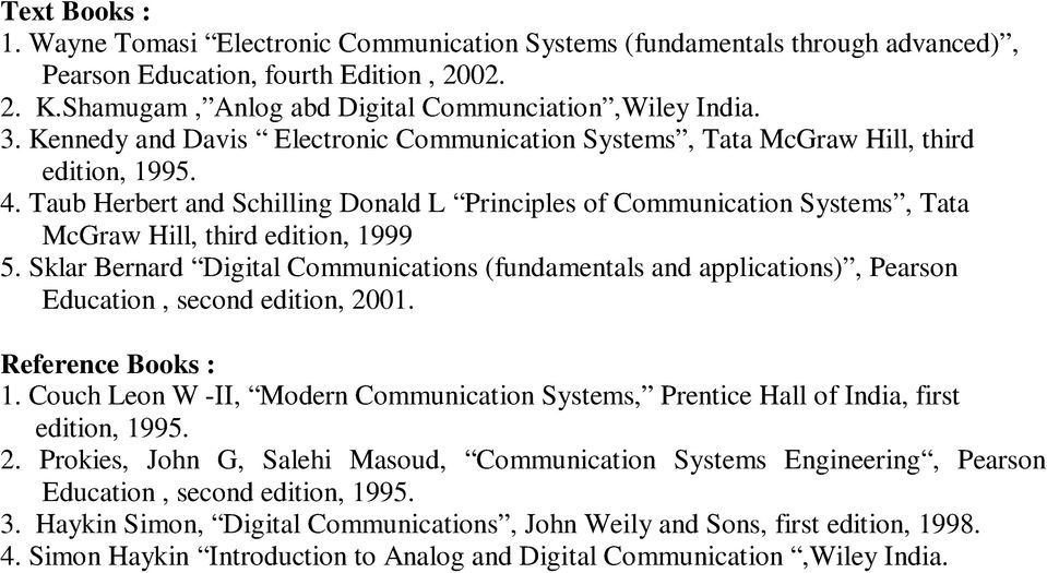 Taub Herbert and Schilling Donald L Principles of Communication Systems, Tata McGraw Hill, third edition, 1999 5.