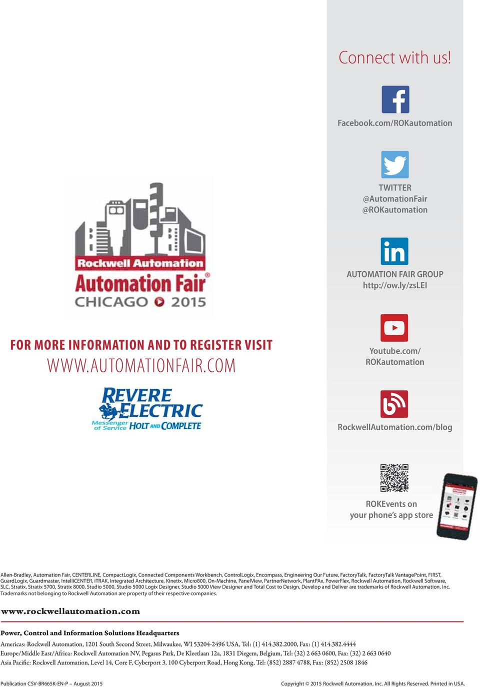 com/blog ROKEvents on your phone s app store Allen-Bradley, Automation Fair, CENTERLINE, CompactLogix, Connected Components Workbench, ControlLogix, Encompass, Engineering Our Future, FactoryTalk,