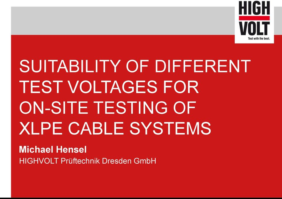 XLPE CABLE SYSTEMS Michael
