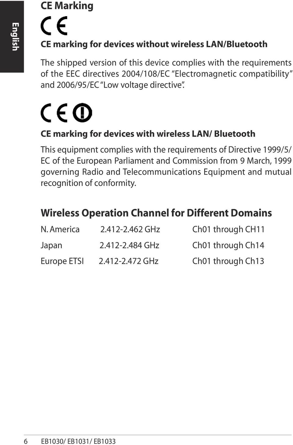 CE marking for devices with wireless LAN/ Bluetooth This equipment complies with the requirements of Directive 1999/5/ EC of the European Parliament and Commission from 9 March,