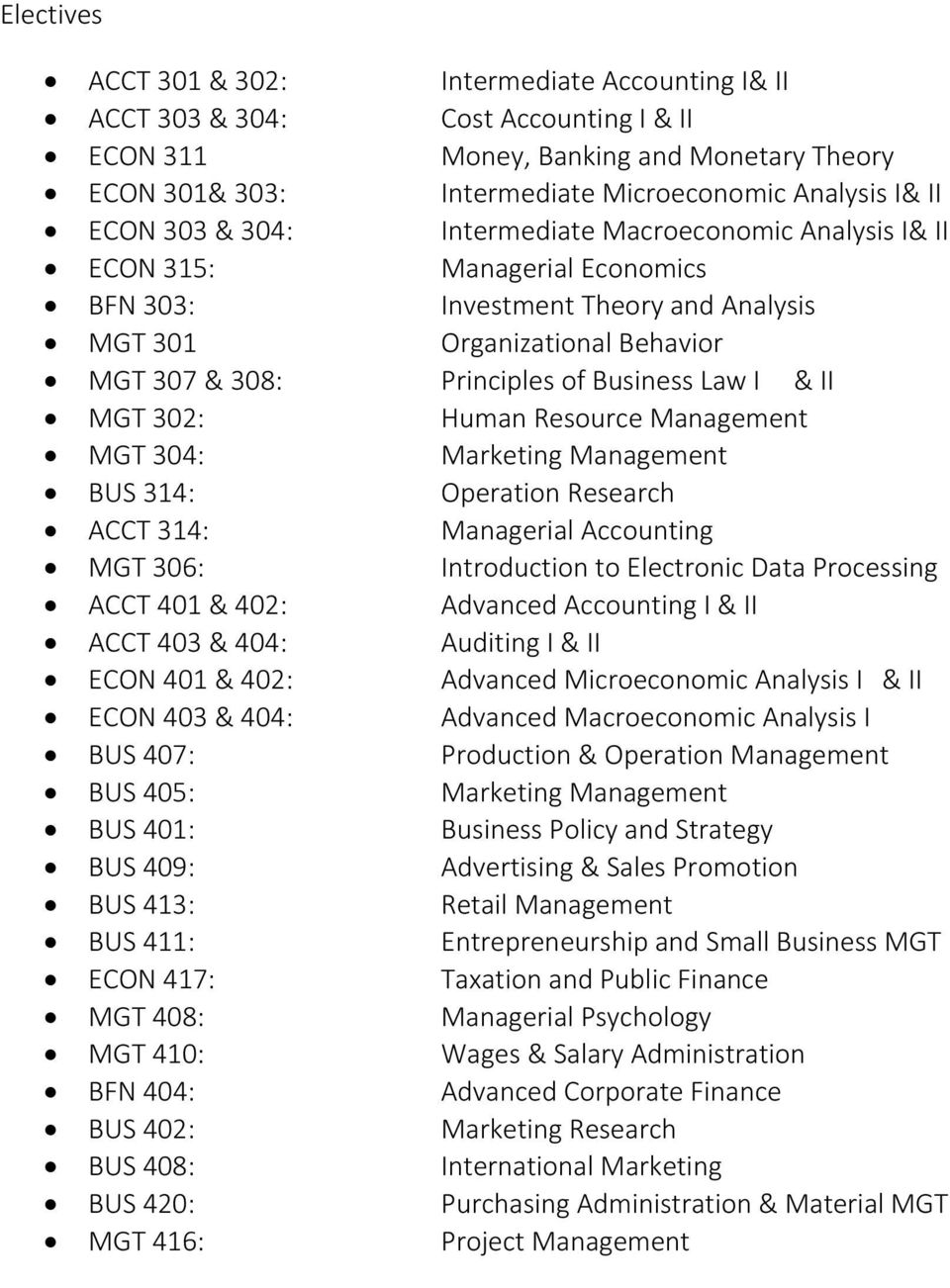 Human Resource Management MGT 04: Marketing Management BUS 14: Operation Research ACCT 14: Managerial Accounting MGT 06: Introduction to Electronic Data Processing ACCT 401 & 402: Advanced Accounting