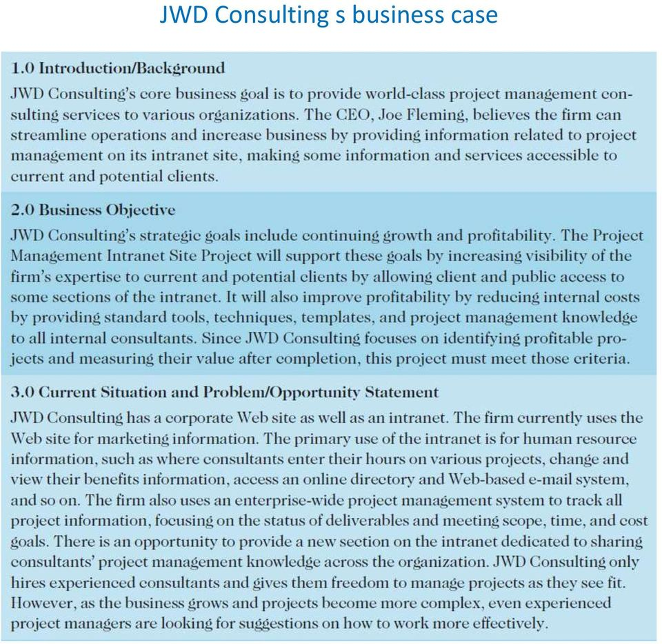 jwd consulting case study Versions of the jwdconsulting case study course:-management information sys reference no:-em13833424 tweet: do you think users ofthe jwd consulting intranet site would prefer one release of the software or several incremental ones.