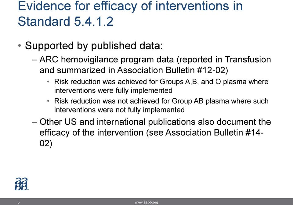 #12-02) Risk reduction was achieved for Groups A,B, and O plasma where interventions were fully implemented Risk reduction was not