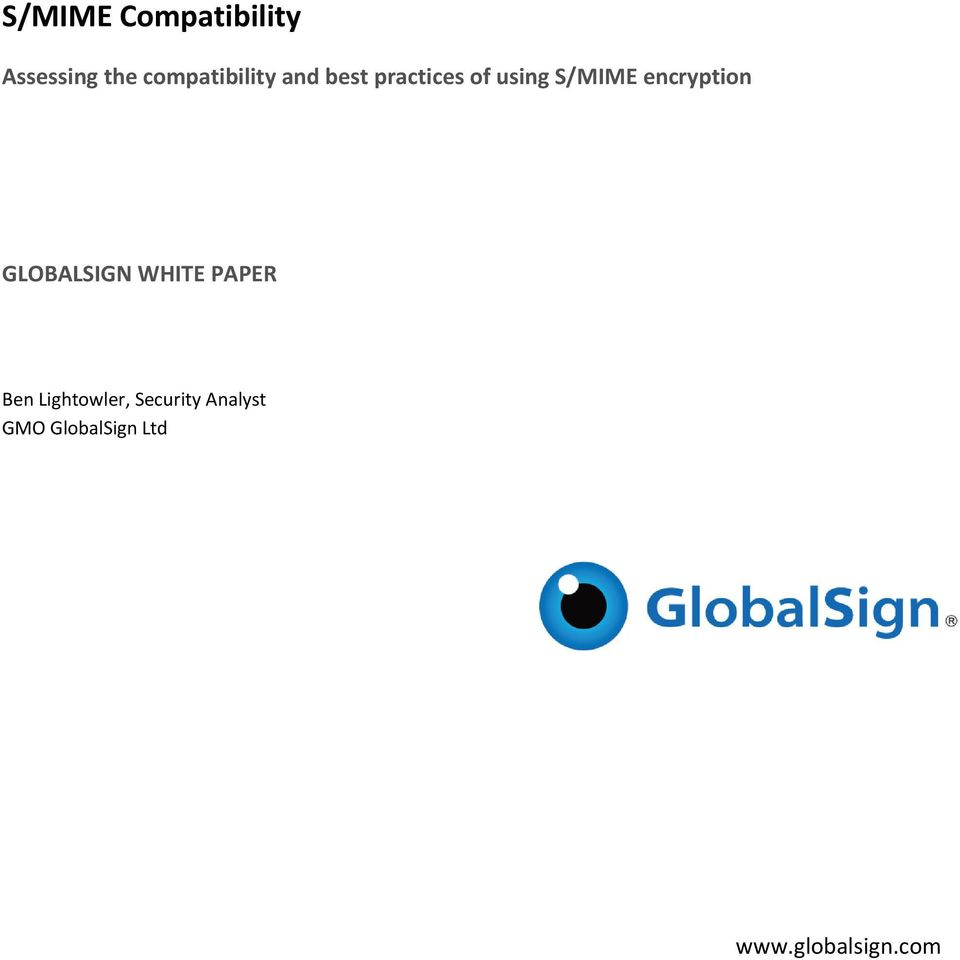 S/MIME encryption GLOBALSIGN WHITE PAPER