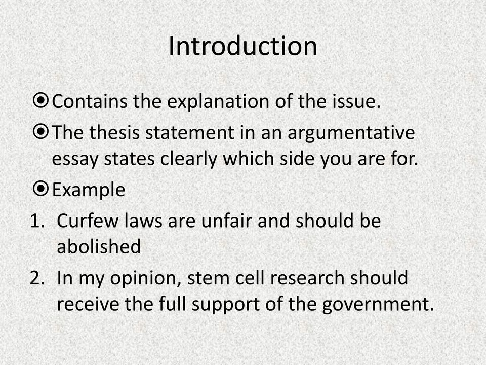 What is the best way to introduce a problem in a argumentative essay