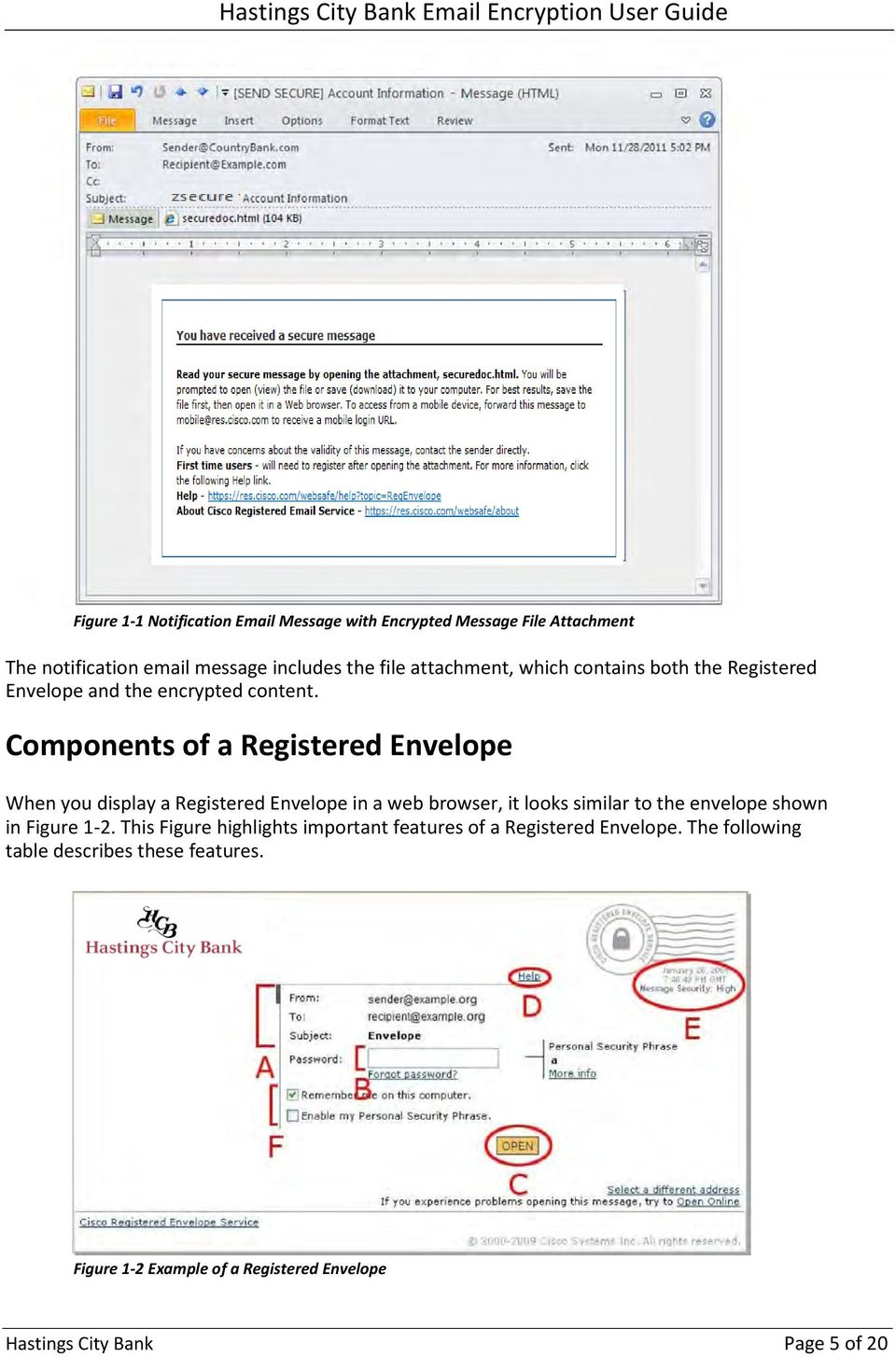 Components of a Registered Envelope When you display a Registered Envelope in a web browser, it looks similar to the envelope shown in