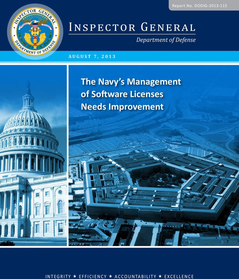 Defense AUGUST 7, 2013 The Navy s Management of Software