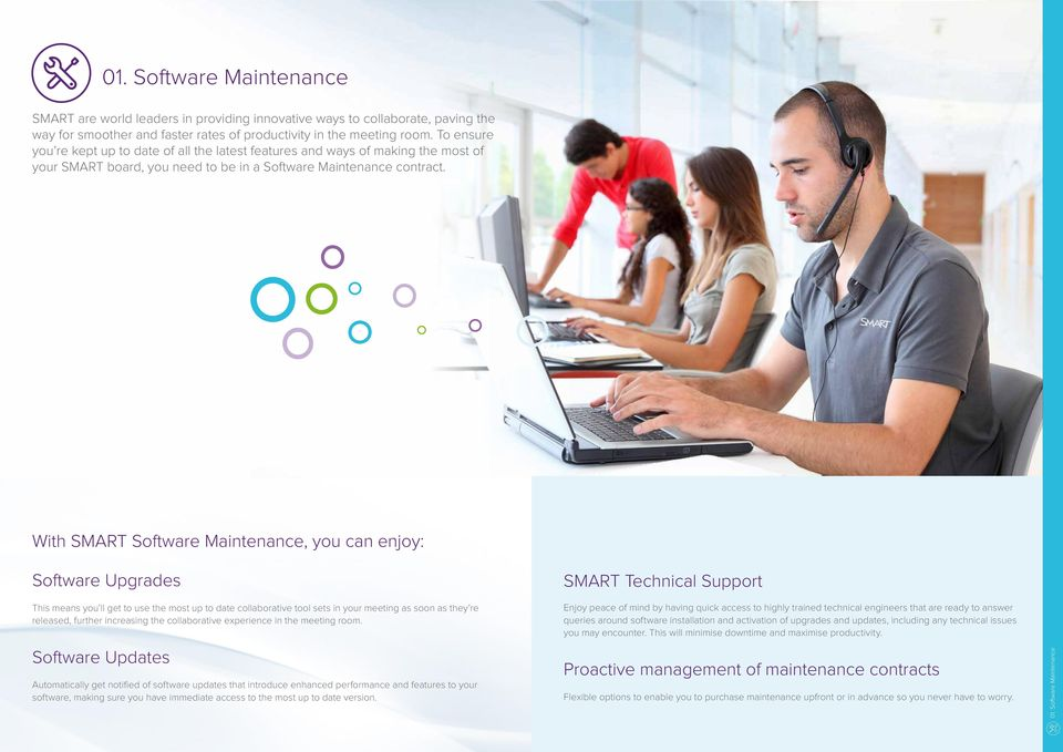 With SMART Software Maintenance, you can enjoy: Software Upgrades This means you ll get to use the most up to date collaborative tool sets in your meeting as soon as they re released, further