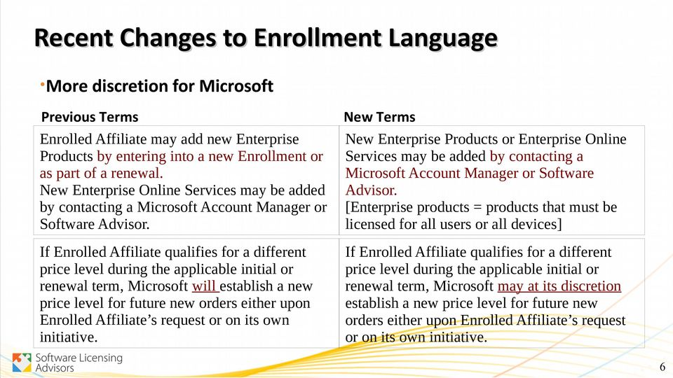 New Terms New Enterprise Products or Enterprise Online Services may be added by contacting a Microsoft Account Manager or Software Advisor.