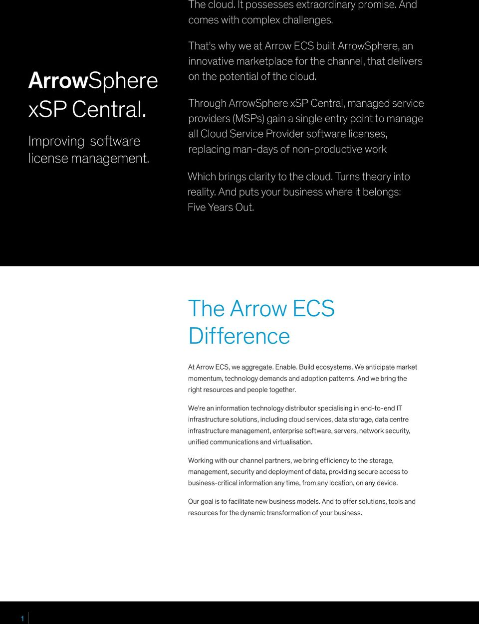 Through ArrowSphere xsp Central, managed service providers (MSPs) gain a single entry point to manage all Cloud Service Provider software licenses, replacing man-days of non-productive work Which