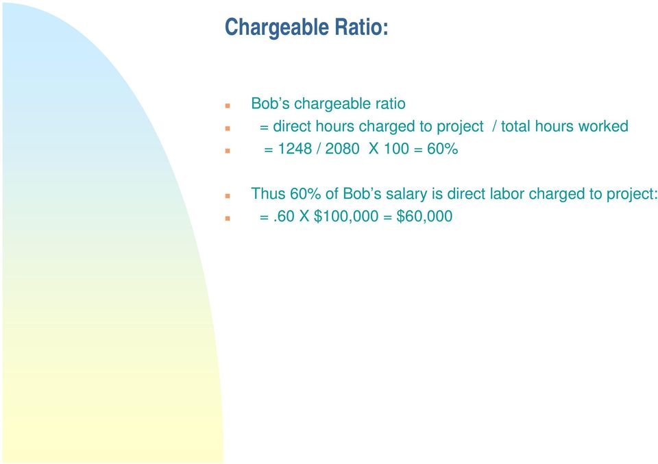 1248 / 2080 X 100 = 60% Thus 60% of Bob s salary is