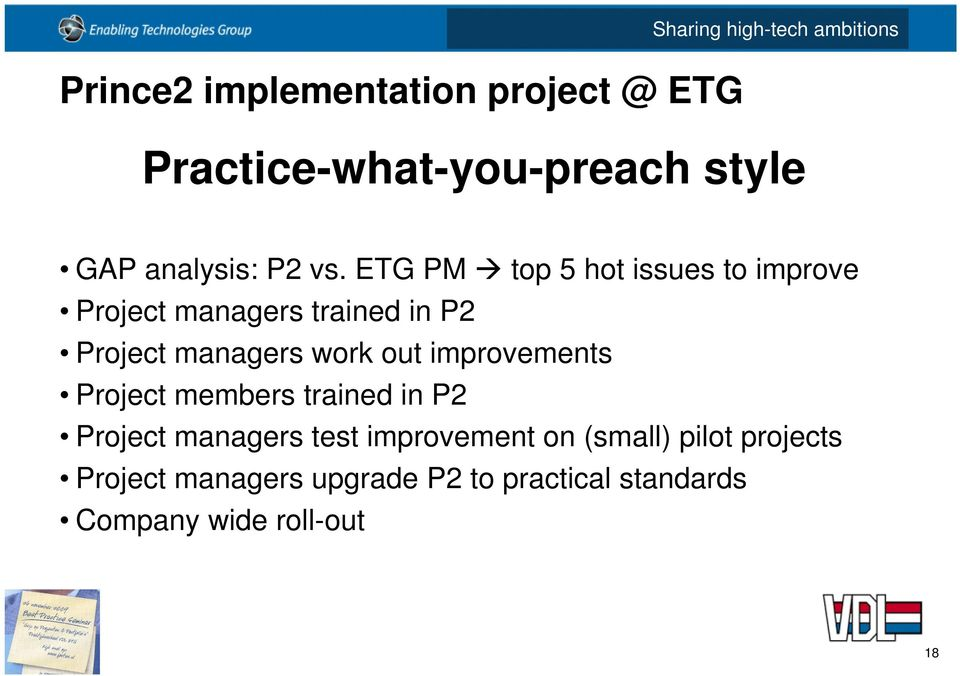 ETG PM top 5 hot issues to improve Project managers trained in P2 Project managers work out