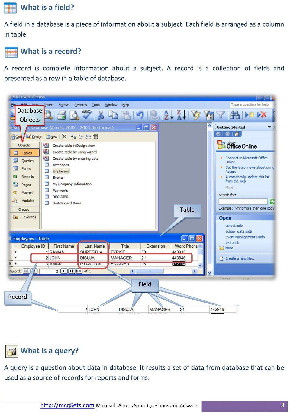 A record is a collection of fields and presented as a row in a table of database.