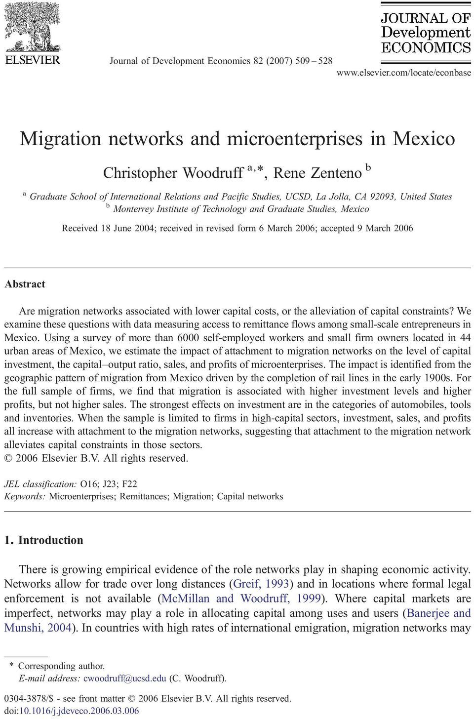 92093, United States b Monterrey Institute of Technology and Graduate Studies, Mexico Received 18 June 2004; received in revised form 6 March 2006; accepted 9 March 2006 Abstract Are migration