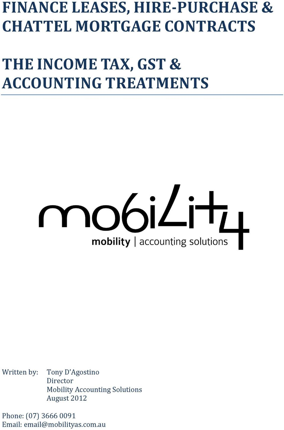 Tony D Agostino Director Mobility Accounting Solutions