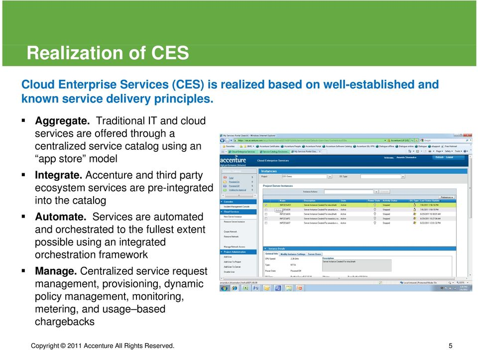 Accenture and third party ecosystem services are pre-integrated into the catalog Automate.