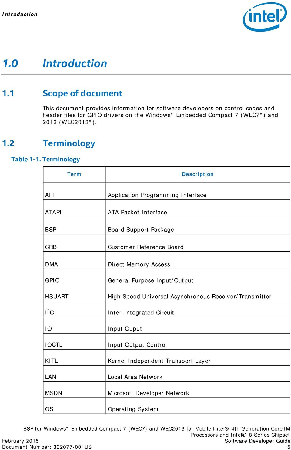 1.2 Terminology Table 1-1.