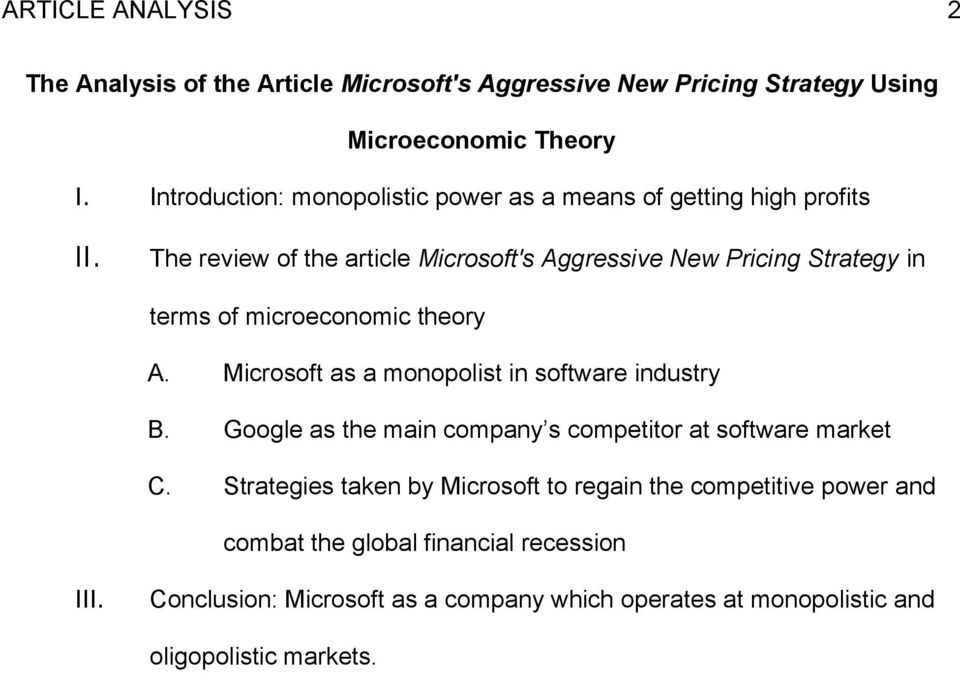 The review of the article Microsoft's Aggressive New Pricing Strategy in terms of microeconomic theory A.