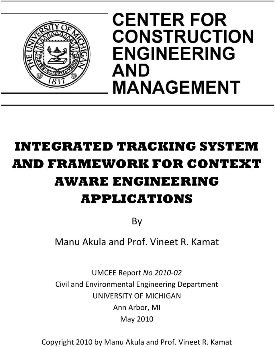 Kamat UMCEE Report No 2010-02 Civil and Environmental Engineering
