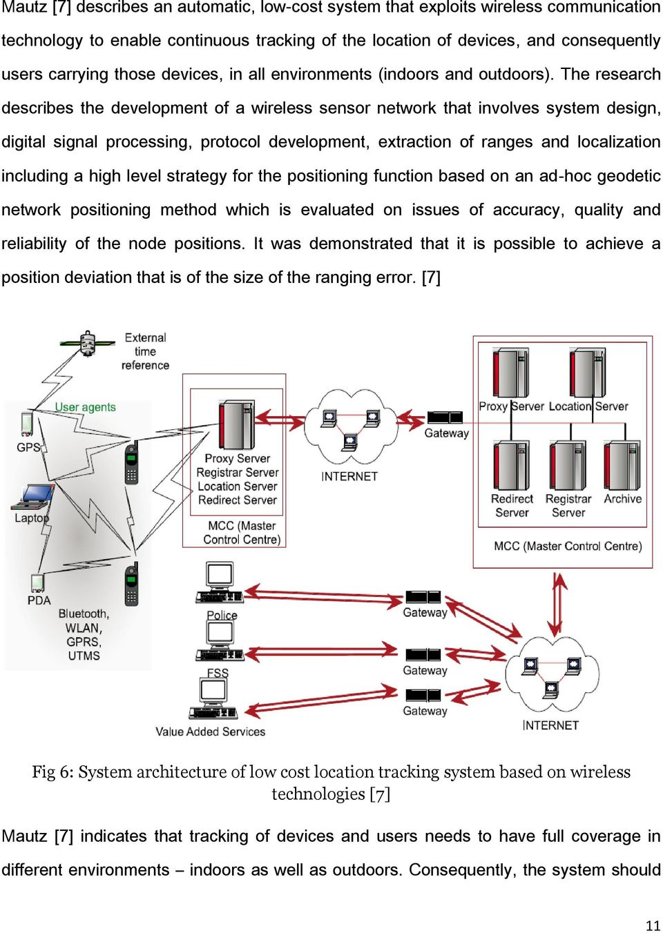 The research describes the development of a wireless sensor network that involves system design, digital signal processing, protocol development, extraction of ranges and localization including a