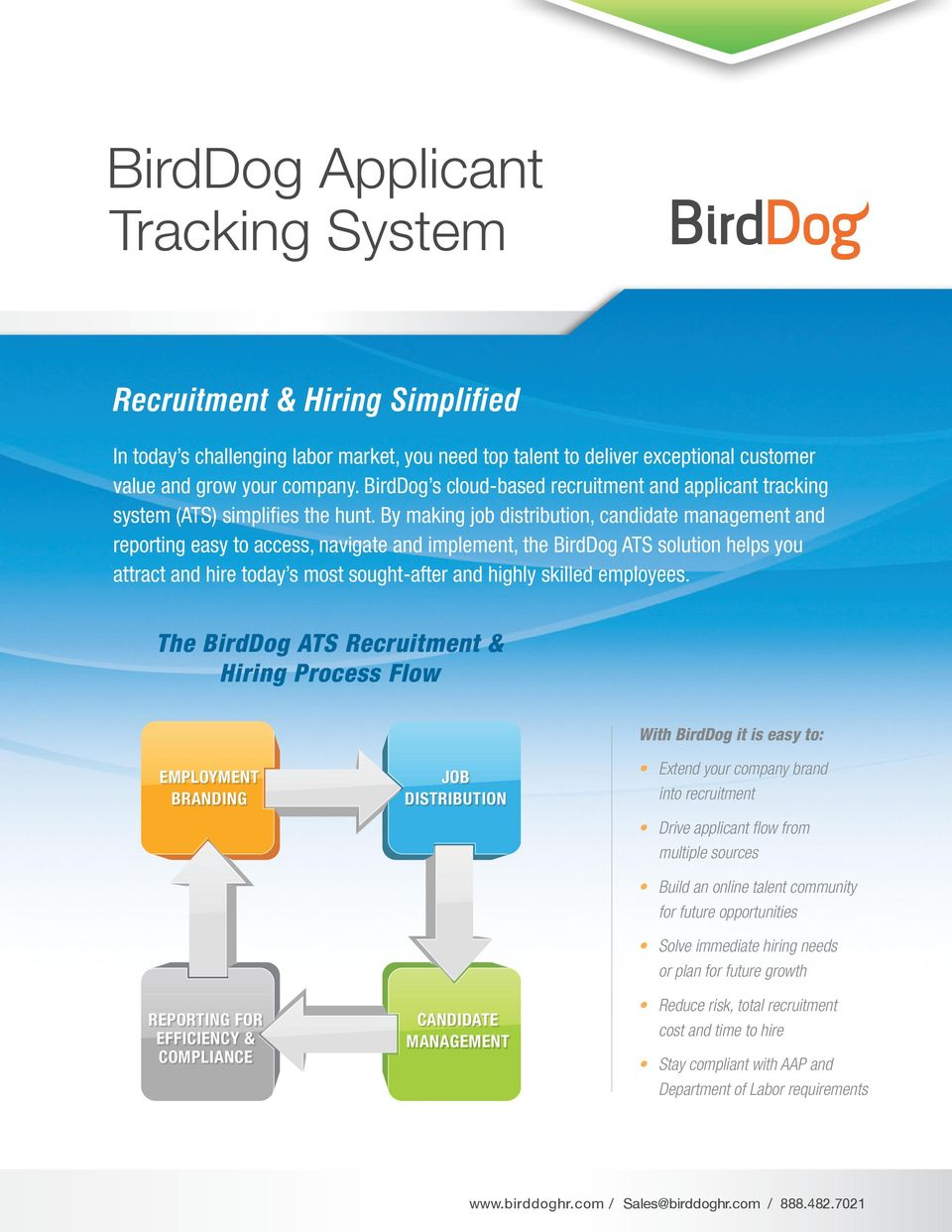 By making job distribution, candidate management and reporting easy to access, navigate and implement, the BirdDog ATS solution helps you attract and hire today s most sought-after and highly skilled
