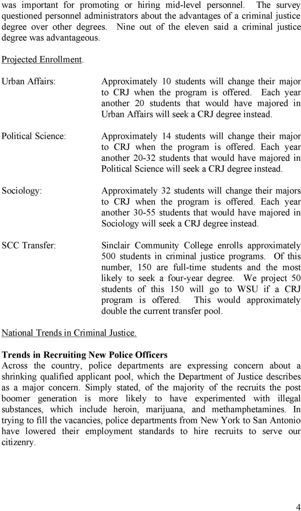 Urban Affairs: Political Science: Sociology: SCC Transfer: Approximately 10 students will change their major to CRJ when the program is offered.