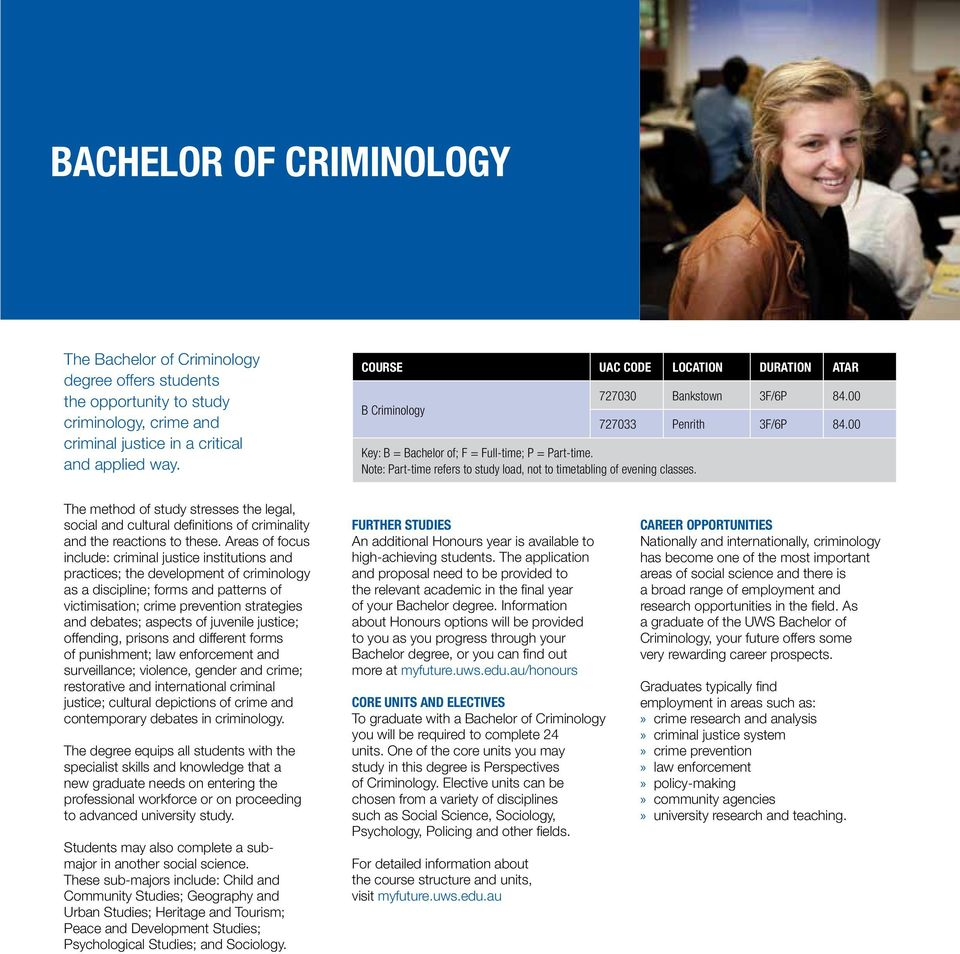 727030 Bankstown 3F/6P 84.00 727033 Penrith 3F/6P 84.00 The method of study stresses the legal, social and cultural definitions of criminality and the reactions to these.