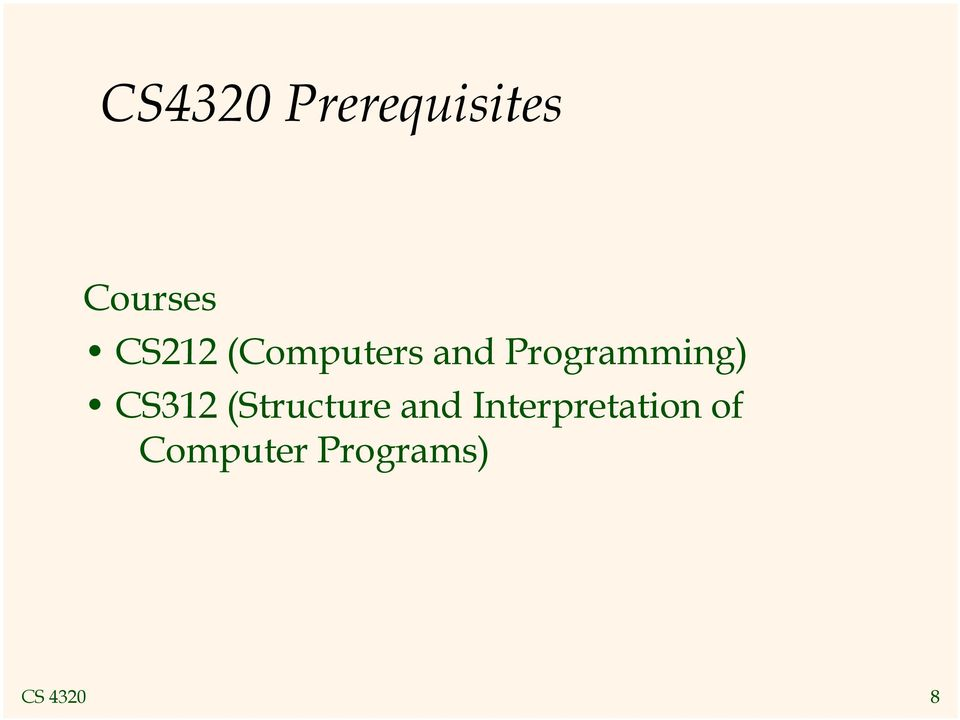 Programming) CS312 (Structure