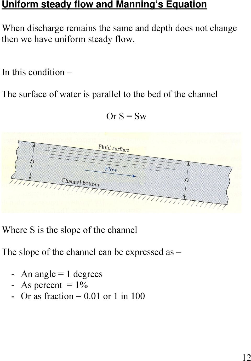 In this condition The surface of water is parallel to the bed of the channel Or S = Sw Where S