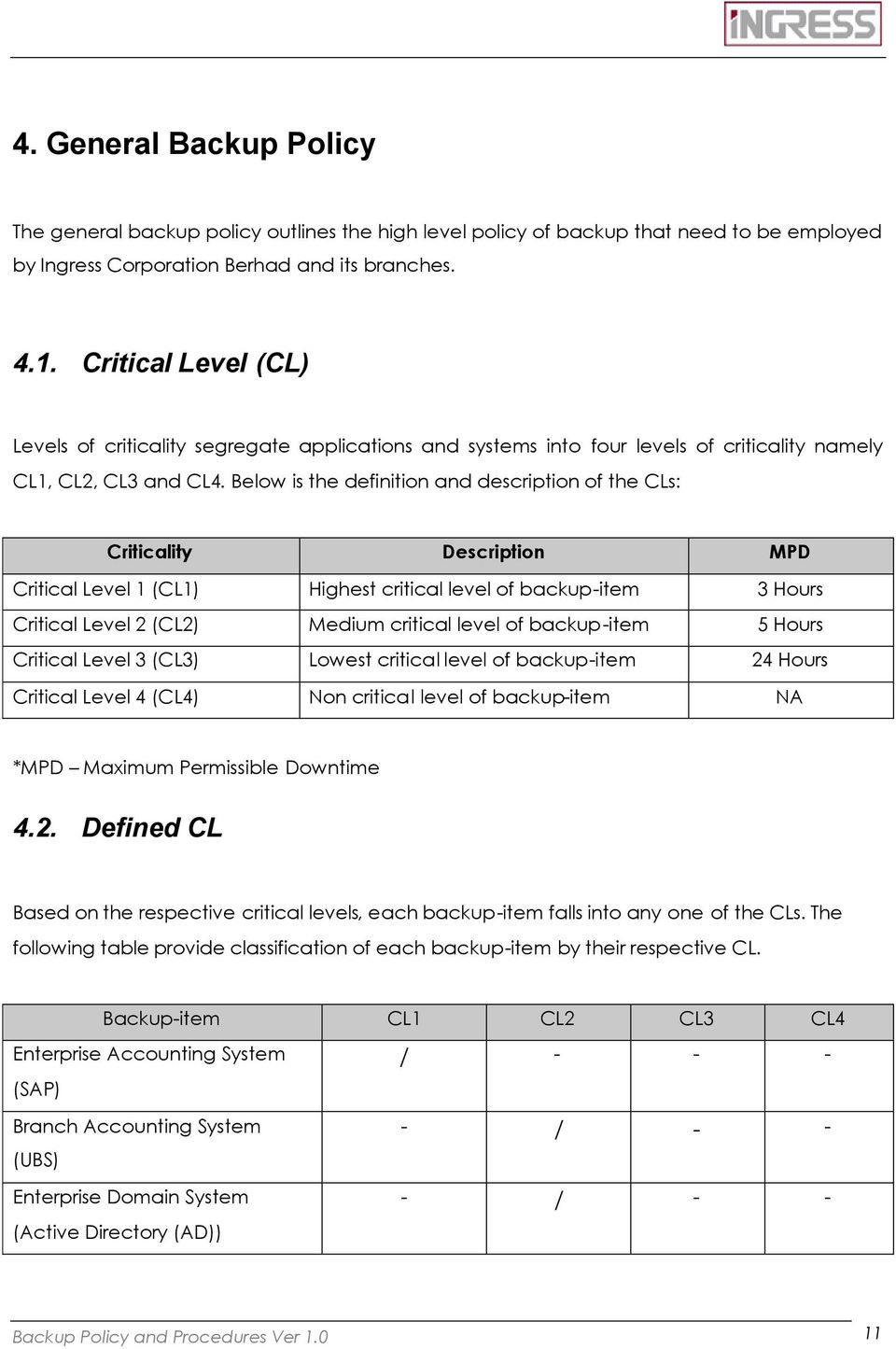 Below is the definition and description of the CLs: Criticality Description MPD Critical Level 1 (CL1) Highest critical level of backup-item 3 Hours Critical Level 2 (CL2) Medium critical level of